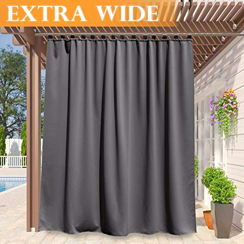 RYB HOME Outdoor Curtains Long - Patio Privacy Waterproof Outside Curtains Block Sun Exposure/Energy Saving Drape for Pergola/Corridor/Gazebo, Width 100 by Length 120 inch, Grey