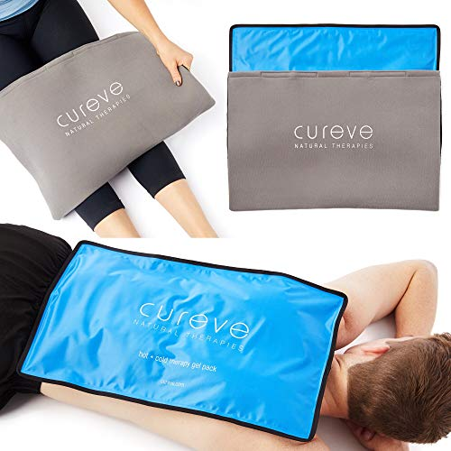 Extra Large Hot and Cold Therapy Gel Pack with Cover by Cureve (21' x 13') - Reusable Ice Pack for Injuries, Aches and Pain on Back, Legs, Shoulders and Arms