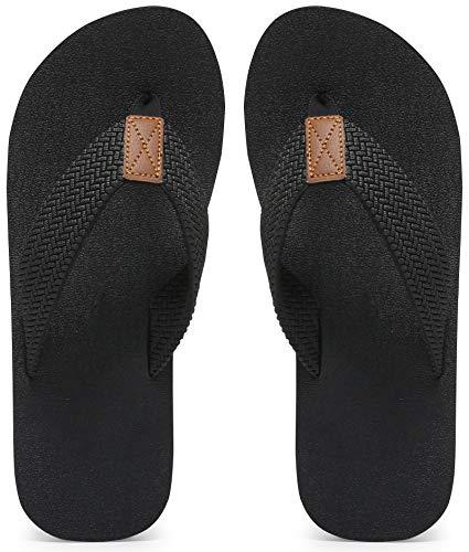 MAIITRIP Mens Flip Flops Size 11,Summer Beach Male Shoes,Non-Slip Rubber Shower Thong Sandals,All Black