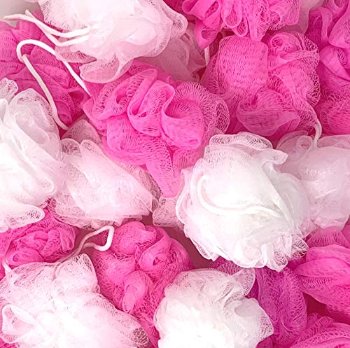 Loofah Lord 20 White and Pink Mixed Assortment Bath or Shower Sponge Loofahs Pouf Mesh Baby Shower, Girls Gift Bag Wholesale Bulk Lot
