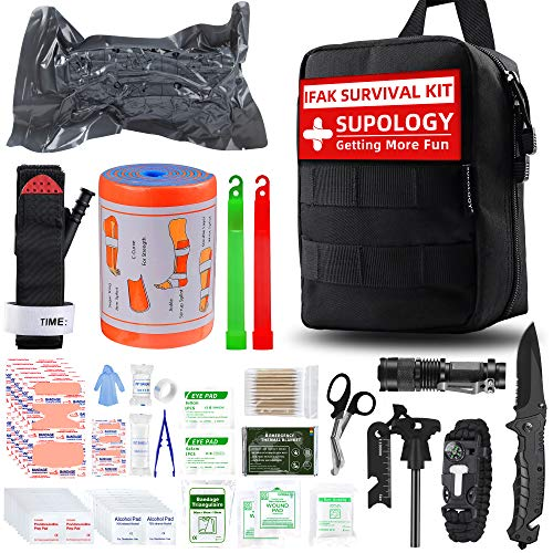 SUPOLOGY Emergency Survival First Aid Kit,135-In-1 Trauma Kit with Tourniquet 36' Splint, Military Combat Tactical IFAK EMT for First Aid Response, Disaster Home Camping Emergency(Upgraded Bag)