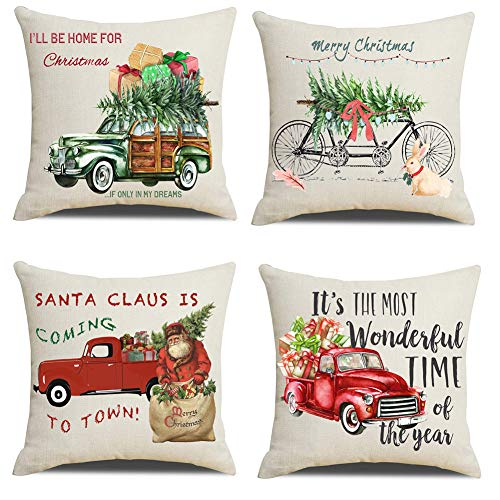 Lanpn Christmas 20x20 Throw Pillow Covers, Decorative Outdoor Farmhouse Merry Christmas Xmas Red Truck Pillow Shams Cases Slipcovers Cover Set of 4 Couch Sofa