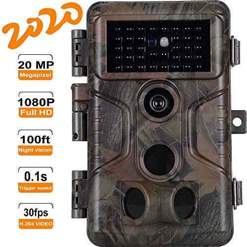 Game & Deer Trail Camera with 100ft Night Vision Full HD 20MP Photo 1080P H.264 MP4/MOV Video 0.1S Trigger Motion Activated Waterproof No Glow for Outdoor Wildlife Hunting & Home Security Surveillance