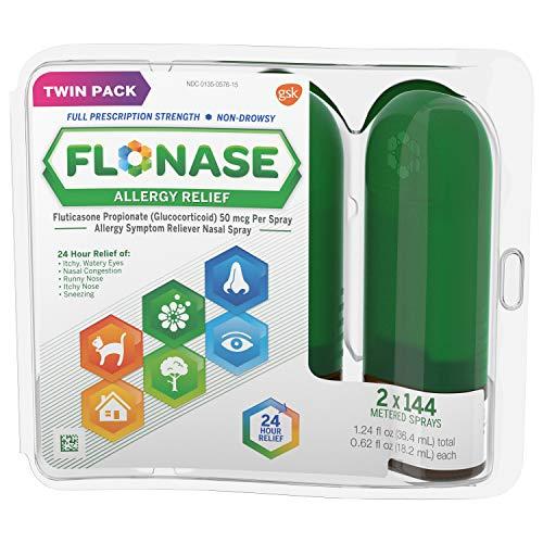 Flonase Allergy Relief Nasal Spray, 24 Hour Non Drowsy Allergy Medicine, Metered Nasal Spray - 144 Sprays (Pack of 2)