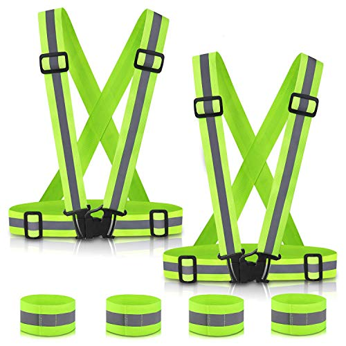 SAWNZC Running Reflective Vest Gear 2Pack with 4 Reflective Bands, Adjustable Safety Vests High Visible Reflective Belt Wristbands Straps for Night Running Outdoor Cycling Motorcycle Dog Walk Jogging