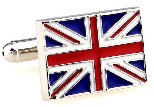 MRCUFF United Kingdom Flag Great Britain British Union Jack Pair Cufflinks in Presentation Gift Box & Polishing Cloth