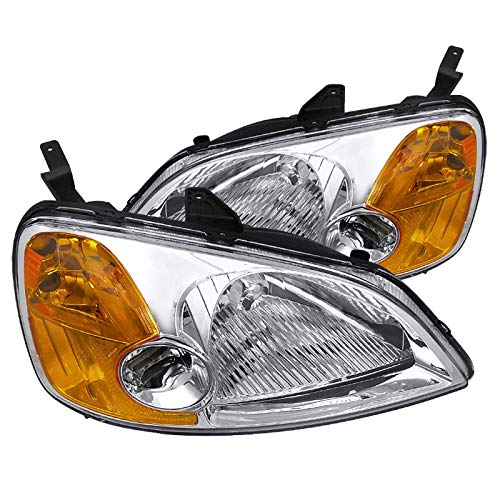 Spec-D Tuning 2LH-CV01-RS Honda Civic 2/4 DR Crystal Headlights Clear Head Lamps