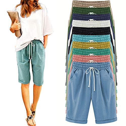 Yibaision Women's Plus Size Elastic Waist Casual Comfy Cotton Bermuda Beach Shorts with Drawstring (2XL, Sky Blue)