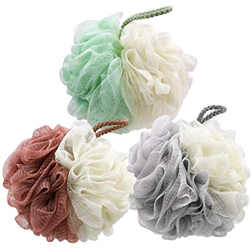 Bath Sponge Shower Loofah, Mesh Pouf Shower Loofa Ball, Body Scrubber for Women & Men, for All Skins Puff Foamy BAIMEI Loofa Sponge Skin-Care Tool (3pcs)