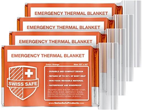 Swiss Safe Emergency Mylar Thermal Blankets + Bonus Gold Foil Space Blanket. Designed for NASA, Outdoors, Survival, First Aid, Orange, 4 Pack