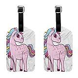 Kawaii Luggage tag waterproof Unicorn Rainbow and Unicorn (2 PCS) Fashion match Suitable for travel