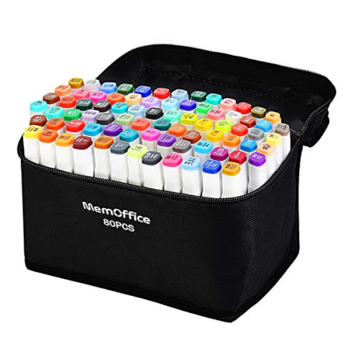 Memoffice 80 Colors Dual Tips Alcohol Markers, Art Markers Set for Kids Adults, Alcohol Based Markers with Carrying Case for Anime Design, Painting, Highlighting, Great Gift Idea