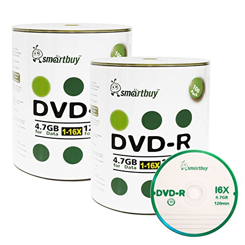 Smart Buy 200 Pack DVD-R 4.7gb 16x Logo Blank Data Video Movie Recordable Disc, 200 Disc 200pk