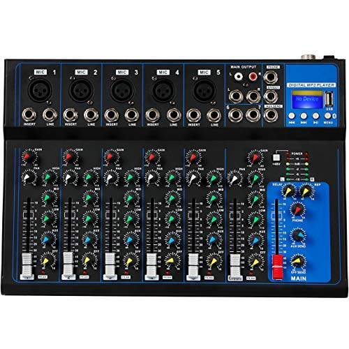 Depusheng HT7 Bluetooth Portable Audio Mixer w/USB DJ Sound Mixing Console MP3 Jack 48V Power for Computer Recording, 7-Channel Bands Mixing Boards For Studio Recording