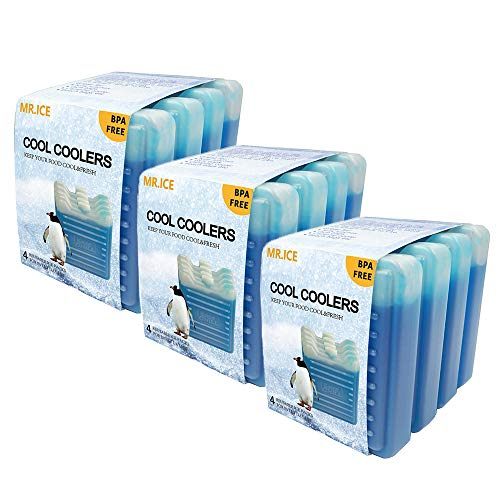 12 pcs of Cool Coolers Slim Ice Packs, Mini Size Freezer Cold Pack for Lunch Box, Bags, Camping, Reusable and Lightweight
