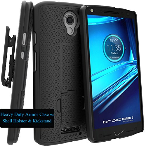 Motorola DROID TURBO 2 Case, Verizon XT1585 Case, Black Swivel Slim Belt Clip Holster Armor Protective Case, Defender Cover (SHELL HOLSTER COMBO) + Free Digital4all(TM) Stylus Pen