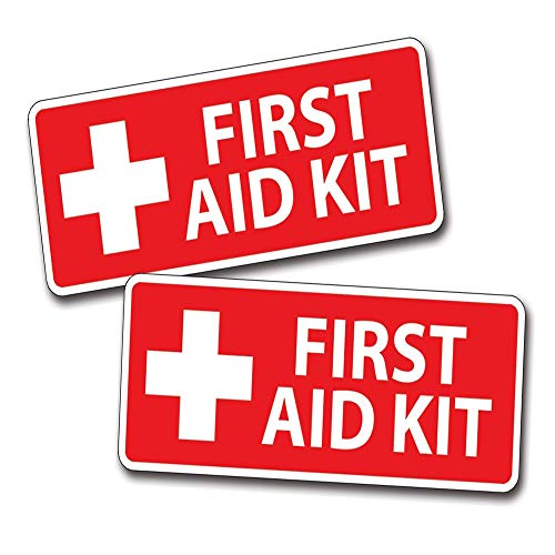 Set of 3 - Reflective First Aid for Emergency 1st Aide DIY Kit or Box Safe Safety Container - Sticker Graphic - Auto, Wall, Laptop, Cell, Truck Sticker for Windows, Cars, Trucks