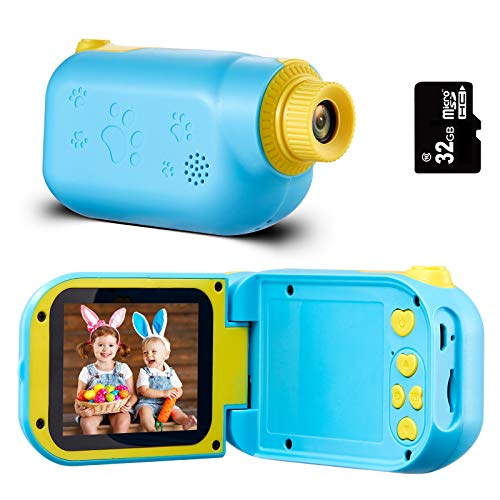 Engpure Kids Camera, Kids Video Camcorder 1080P 2.4 inch IPS Screen Camera Toys for 3-10 Years HD Children Videos Recorder for Boys Girls Toys, with 32GB Micro SD Card (Blue)