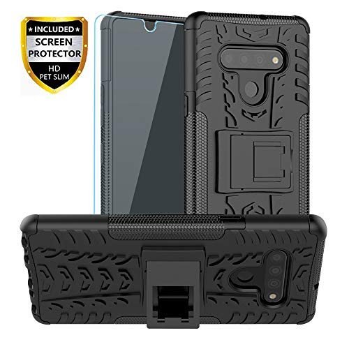 SKTGSLAMY LG Stylo 6 Case, with HD Screen Protector, [Shockproof] Tough Rugged Dual Layer Protective Case Hybrid Kickstand Cover for LG Stylo 6 (Black)