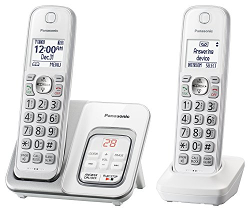 Panasonic DECT 6.0 Expandable Cordless Phone with Answering Machine and Smart Call Block - 2 Cordless Handsets - KX-TGD532W (White/Silver)