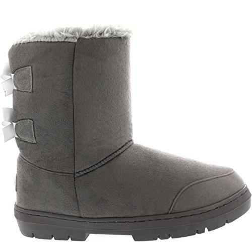 Womens Twin Bow Tall Classic Waterproof Winter Rain Snow Boots - Gray - 8 - GRE39 AEA0237