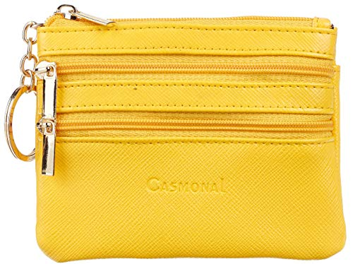 Casmonal Womens Genuine Leather Coin Change Purse Pouch Slim Minimalist Front Pocket Wallet Key Ring (SL Yellow)
