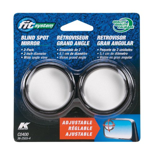 Fit System C0400 Driver/Passenger Side Stick-On Adjustable Blind Spot Mirrors – Pack of 2