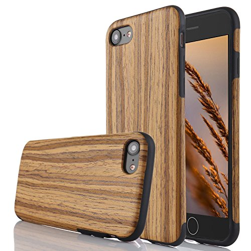 for iPhone 6 Case iPhone 6S Case,L-FADNUT Premuim Handmade Wooden Hybrid Back Flexible TPU Silicone Ultra Slim Back Case,Shock Absorbing Bumper Protective Case Cover Teak Wood