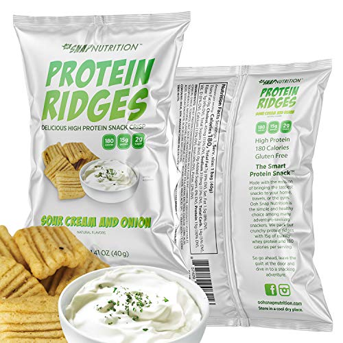 Ooh Snap Nutrition Protein Ridges - Gluten Free and All Natural Whey Protein Chips - Low Calories and Low Sugar Snack - Sour Cream and Onion, 15 Count