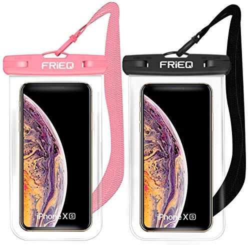 Waterproof Case 2 Pack for iPhone 12/12 Pro Max/11/11 Pro/SE/Xs Max/XR/8P/7 Galaxy up to 7' (Black and Pink)