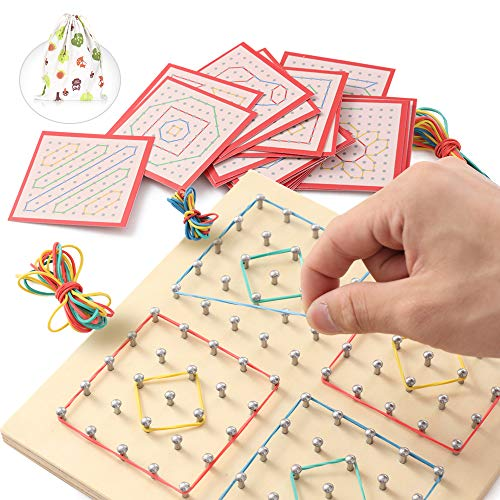 ZaxiDeel Wooden Geoboard Mathematical Manipulative Matrix 10x10 Learning Material, Educational Toy for Kids with Rubber Bands and Cards to Create Patterns and Shapes for Preschool Classrooms with Bag