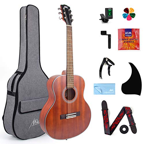 AKLOT Classical Acoustic Guitar, Travel Acoustic Guitar with Classical String 38 inch Mahogany w/Gig Bag Tuner Strap Picks String