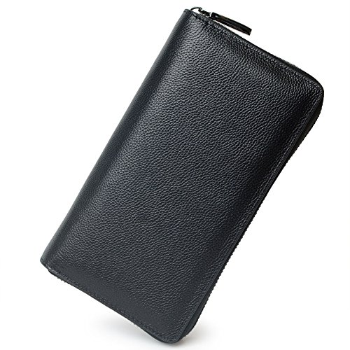 RFID 36 Credit Card Holder Large Wallet Leather for Women Zipper Multi Card Lots Protector Purse (Black)