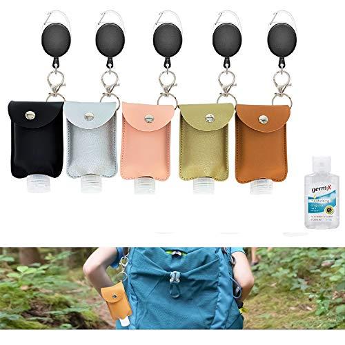 5 Pack Backpack Holder Keychain Match For Germ X Hand Sanitizer 2 Fl Oz Size Travel Bottles Premium Leather Leakproof Empty Stretchable Lanyard LeakProof Liquid Bottler Refillable Hand Soap