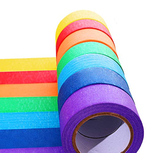 Colored Masking Tape, Rainbow Color Painters Tape Labelling Tape for Kids Fun Arts DIY, Identification,Cording,Moving Boxes,Home Decoration, Office Supplies(7pack))