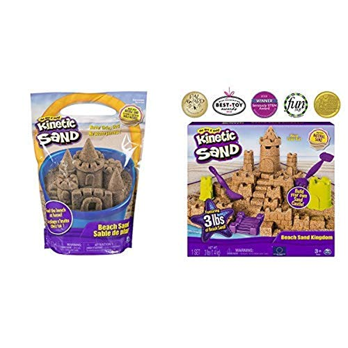 Kinetic Sand, 3lbs Beach Sand for Ages 3 & Up (Packaging May Vary) Beach Sand Kingdom Playset with 3lbs of Beach Sand, for Ages 3 and Up