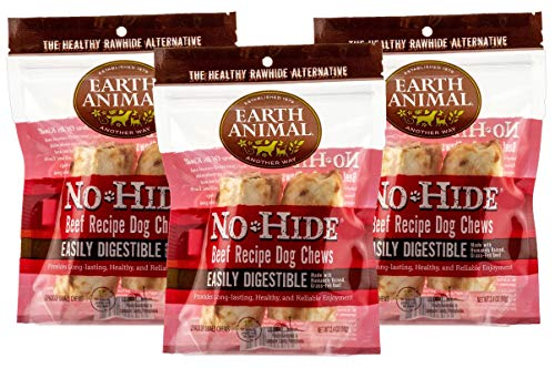 (3 Packages) Earth Animal No-Hide Beef Chews 4' (2 Chew Per Pack, 6 Chew Total) (Limited Edition)