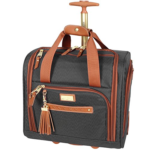 Steve Madden Designer 15 Inch Carry on Suitcase- Small Weekender Overnight Business Travel Luggage- Lightweight 2- Rolling Spinner Wheels Under Seat Bag for Women (Black)