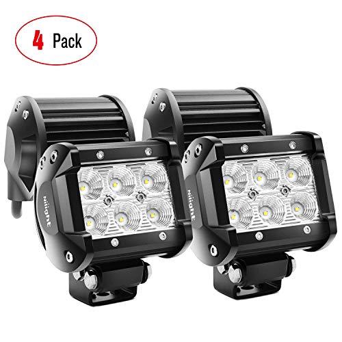 Nilight LED Light Bar 4PCS 4 Inch 18W LED Bar 1260lm Flood Led Off Road Driving Lights Led Fog Lights Jeep Lighting LED Work Light for Van Camper SUV ATV ,2 Years Warranty