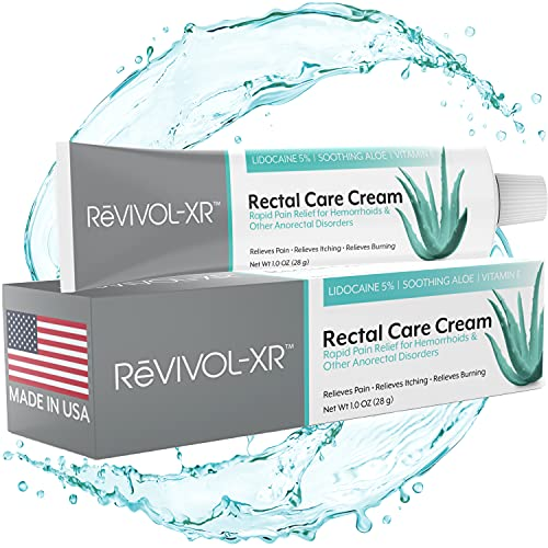 ReVIVOL-XR Advanced Plus Hemorrhoid Treatment, 5% Lidocaine Cream + Powerful Antioxidants for Rapid Relief from Pain, Itch, & Burn. Made in USA. 28g Tube.