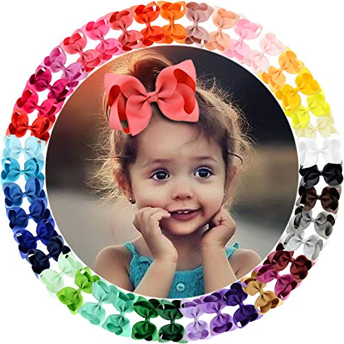 willingTee 40colors Grosgrain Ribbon Hair Bows Alligator Clips Hair Accessories for Baby Girls Infants Toddlers Teens Kids Children