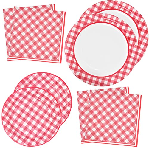 Red Gingham Party Supplies Tableware Set 50 9' Plates 50 7' Plate 100 Luncheon Napkin Disposable Dinnerware Paper Goods Red & White Gingham Checkered Plaid Picnic Barbecue Birthday Party Gift Boutique