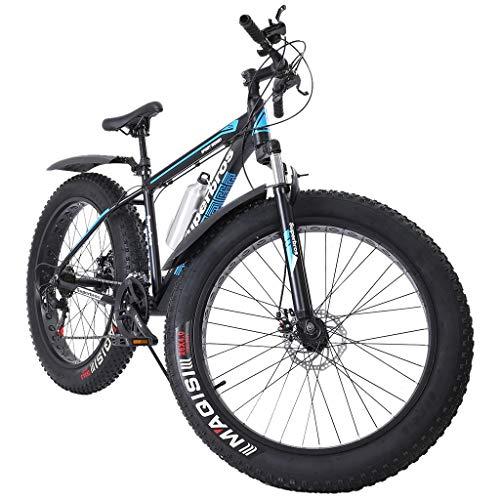 Homlpope Fat Tire Mountain Bikes Men Women 17-Inch/Medium High-Tensile Aluminum Frame, 21-Speed, 26-inch Wheels Outdoor Bicycle