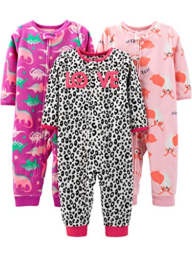 Simple Joys by Carter's Baby 3-Pack Loose Fit Flame Resistant Fleece Footless Pajamas, Fox/Dino/Leopard Print, 24 Months