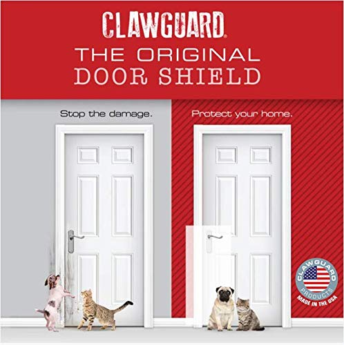 CLAWGUARD Original The Ultimate Door Scratch Shield, Frame & Wall Scratch Protection Barrier for Dog and Cat Clawing, Scratching and Damaging Doors, Scratch Shield 18in x 43in