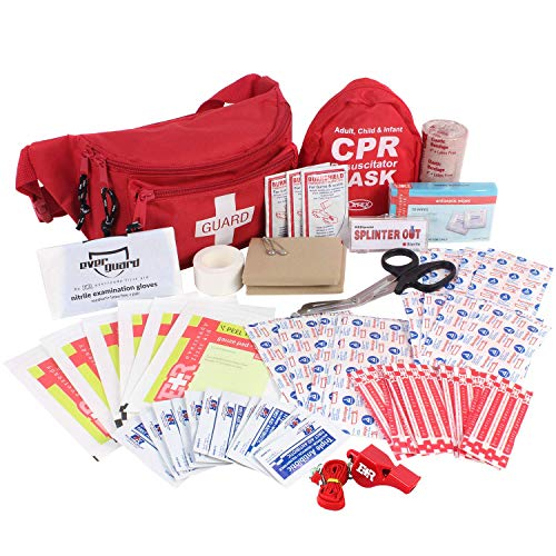 Ever Ready First Aid, Fanny Pack/Hip Pack, Fully Stocked First Aid Kit with Adult & Infant CPR Combo Masks (72 Piece Set)