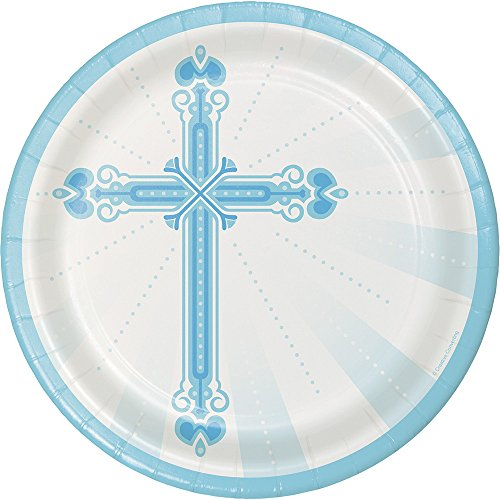 Creative Converting 18-Count Sturdy Style 8.75-Inch Round Paper Plates, Blessings-Blue