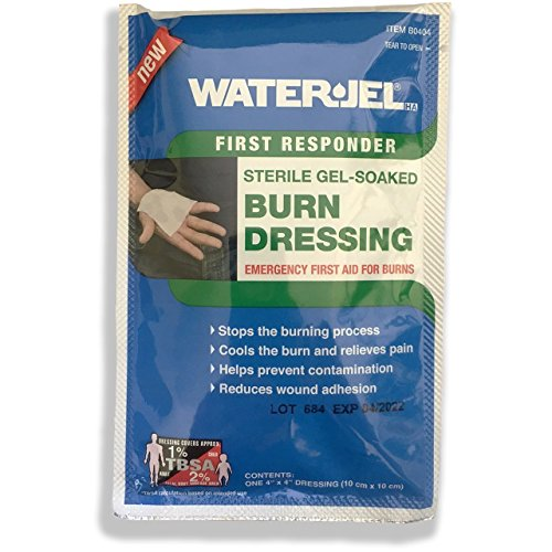 Water Jel First Responder Sterile Gel Soaked Burn Dressing 4 Inch x 4 Inch