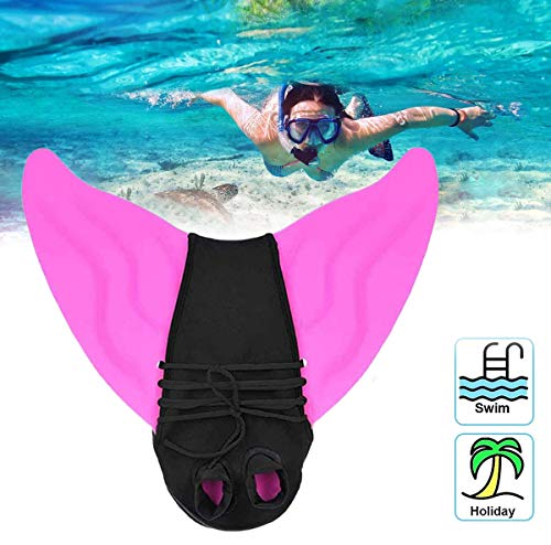 ZOMIAO Mermaid Swim Fins for Kids Adults Monofin One-Piece Flipper Swimming Mermaid Tail with Flipper Diving Fins (Pink, Kid)