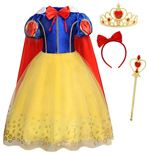HenzWorld Dresses for Girls Princess Costume Cosplay Birthday Party Patchwork Puff Sleeve Tutu Long Skirt Outfits Red Capes Accessories Bow Headband Little Kids 4-5 Years